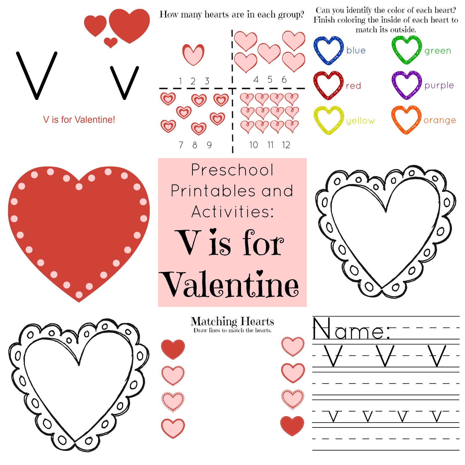 V is for Valentine Preschool Printables and Activities   Valentine\'s ...