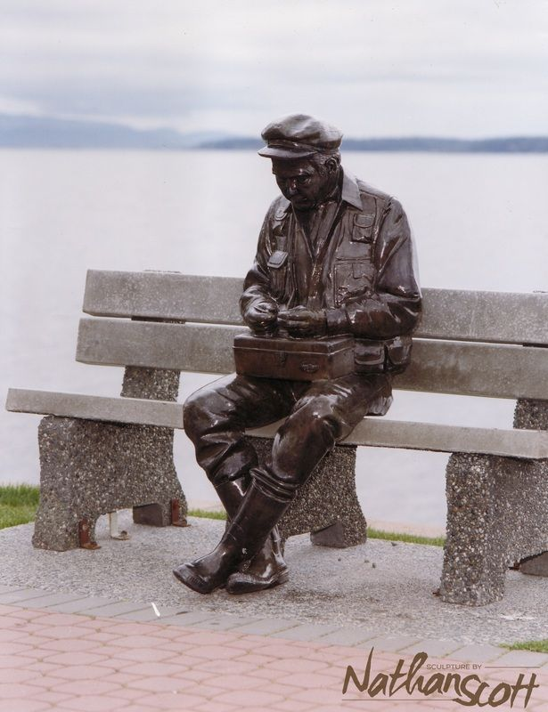 first public commission sculpture bronze art old man by the sea statue sidney people bc