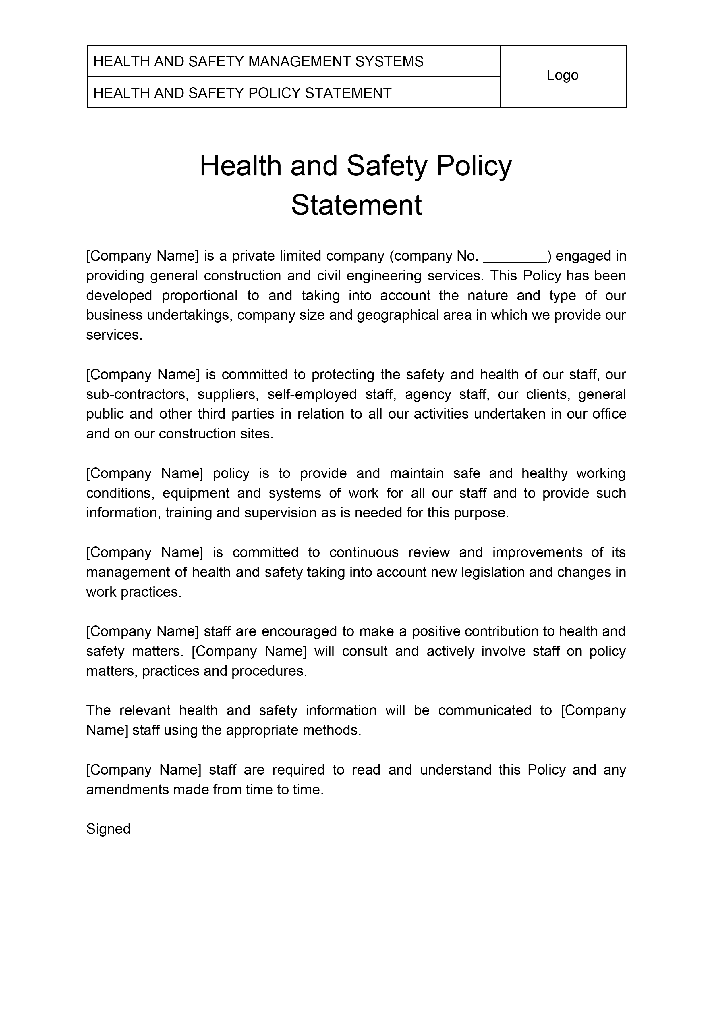 Construction Company Health and Safety Policy Statement in
