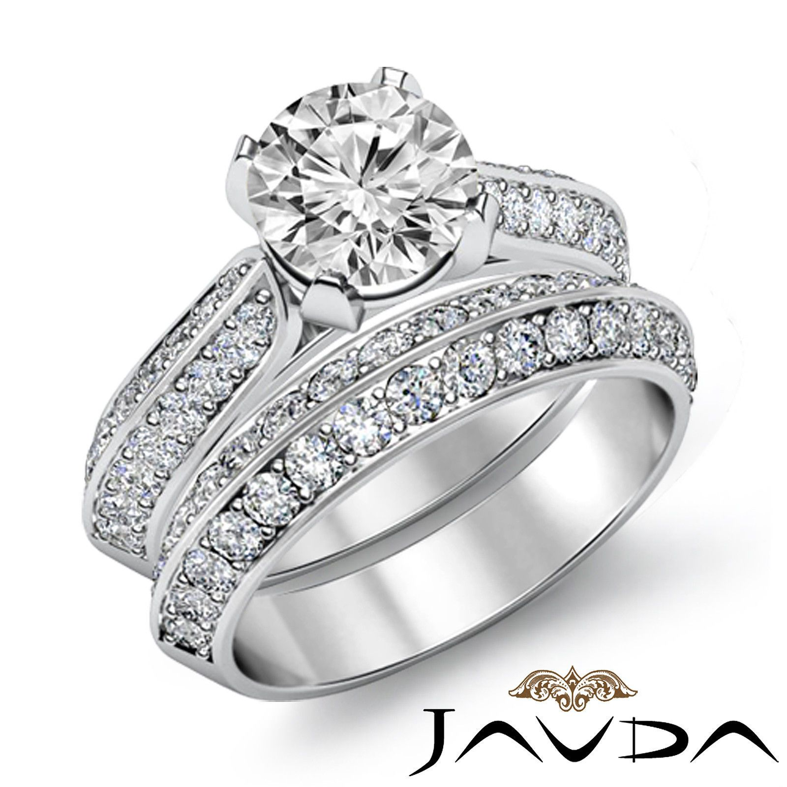 Cathedral Pave Round Bridal Set Diamond Engagement Ring EGL F VS1