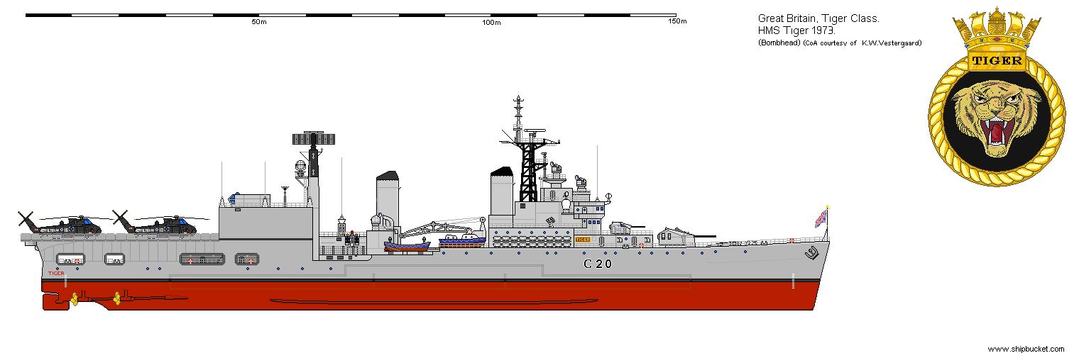 Hms Hmas Tiger Ch C20 1975 Naval History Warship Great Britain
