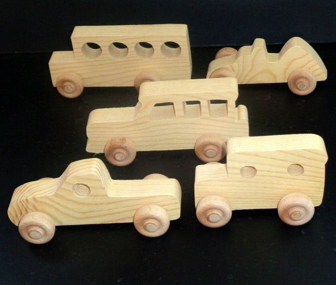 5 Pkg Of Handcrafted Wood Toy Vehicles OT-49 Unfinished Or
