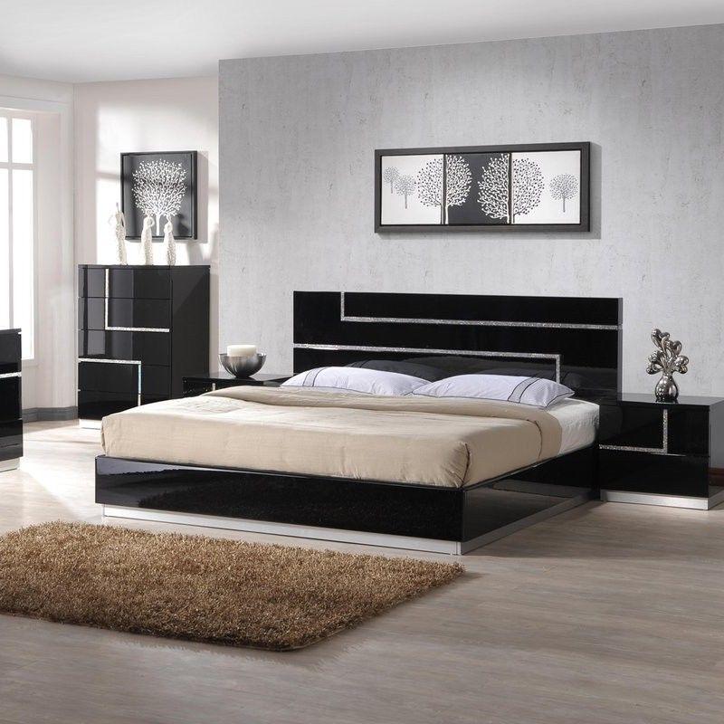 King Size Glossy Black Platform Bed Frame Solid Wood Modern