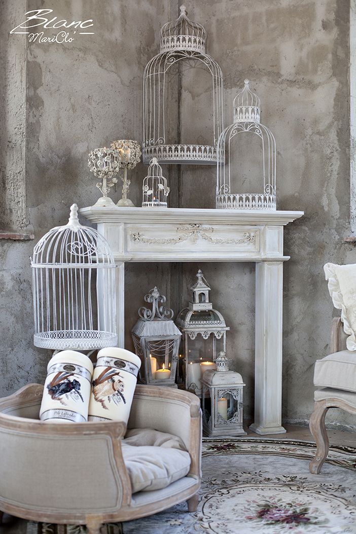 Winter corner with fireplace frame lanterns bird cage