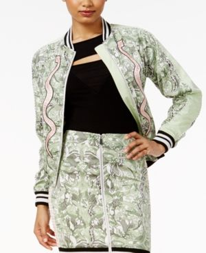 Guess Reese Snake-Print Bomber Jacket - Brown XS