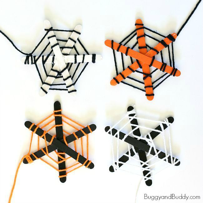 halloween craft for kids spiderweb craft made with popsicle sticks and yarn perfect for - Halloween Arts And Crafts For Kids Pinterest