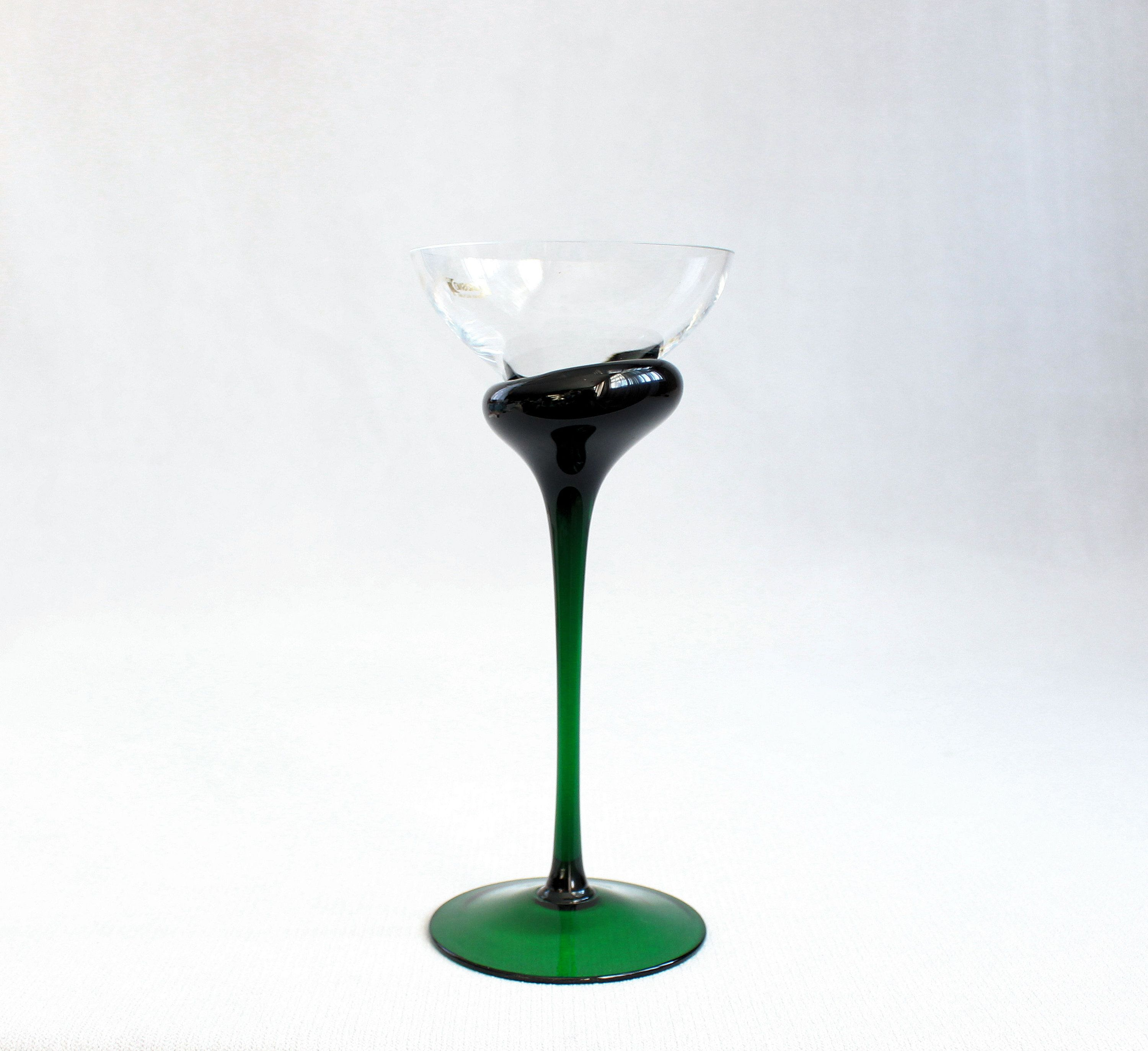 Tall glass candle holder vintage krosno art green and clear candleholder green glass