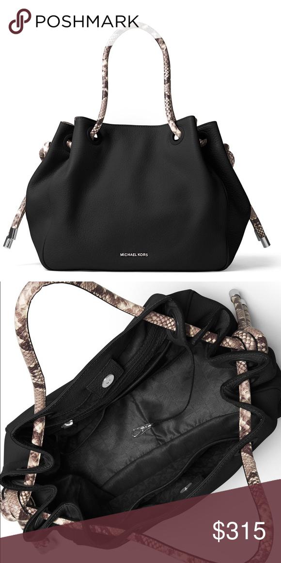 3465d4b708d8 MICHAEL Michael Kors Dalia Large Shoulder Tote Bag MICHAEL Michael Kors  matte pebbled leather shoulder bag. Snake-embossed leather tubular top  handles weave ...