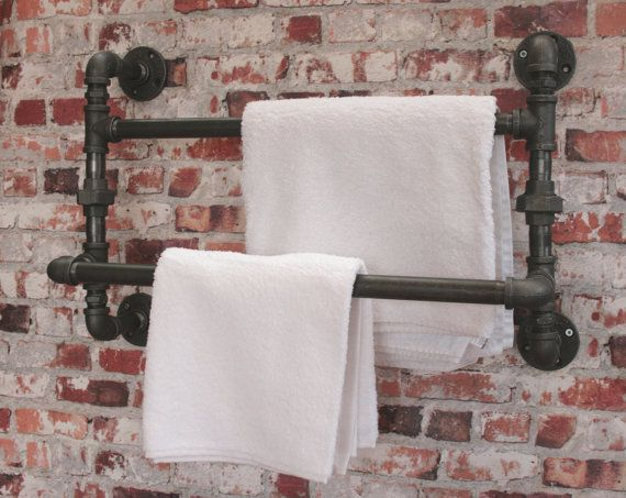 "DOUBLE TOWEL RAIL Large Industrial Steampunk 3/4"" Pipe Bathroom Malleable  Storage Old Victorian Style Water Pipes Urban Two Depths"