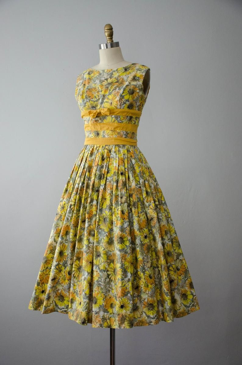 Yellow Floral 1950s Dress Fit And Flare Dress Etsy Vintage Dresses For Sale Fit And Flare Dress 1950s Dress [ 1199 x 794 Pixel ]