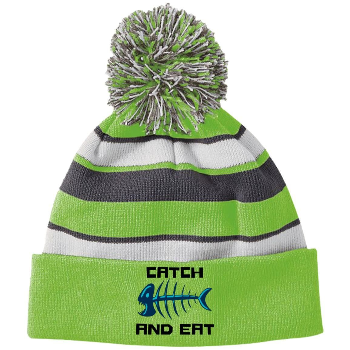 f80d70c9a223c Catch And Eat - Holloway Striped Beanie with Pom - fishing