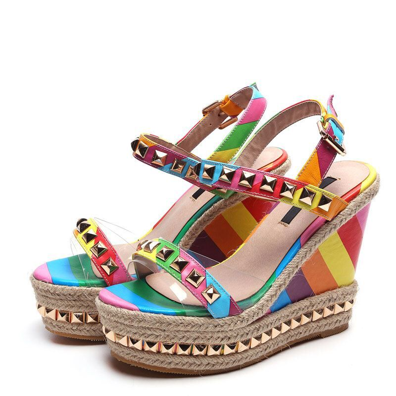 1b7a2384970f summer vintage platform high heels wedges sandals shoes woman fashion high  heeled sandy beach rainbow gold rivets shoes sandals