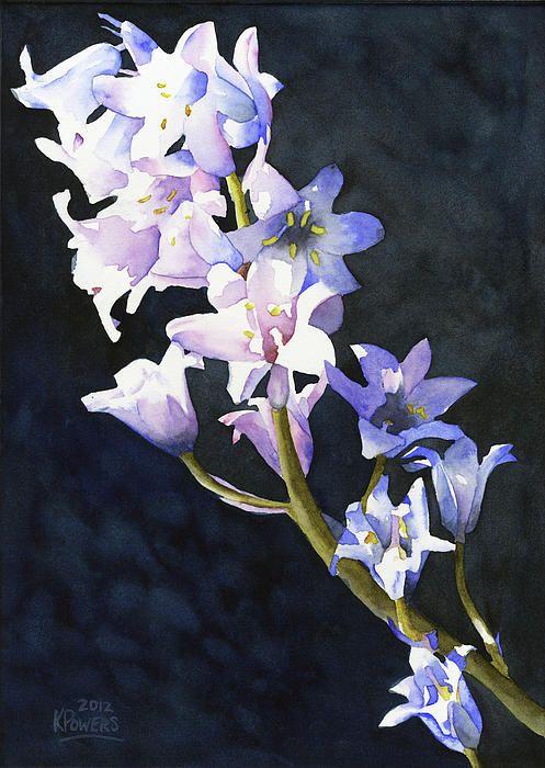 Title: Bluebells. Artist: Ken Powers. Medium: #Painting - Watercolor On Paper