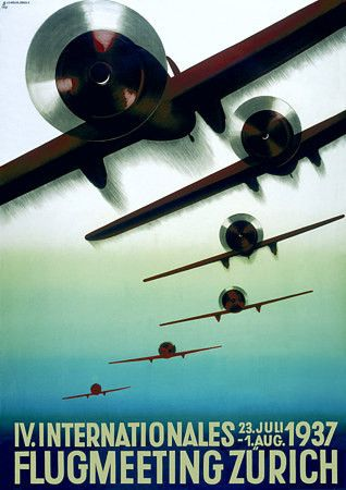 International Air Show 1937  Art Deco vintage aviation poster   http://www.vintagevenus.com.au/products/vintage_poster_print-tr229