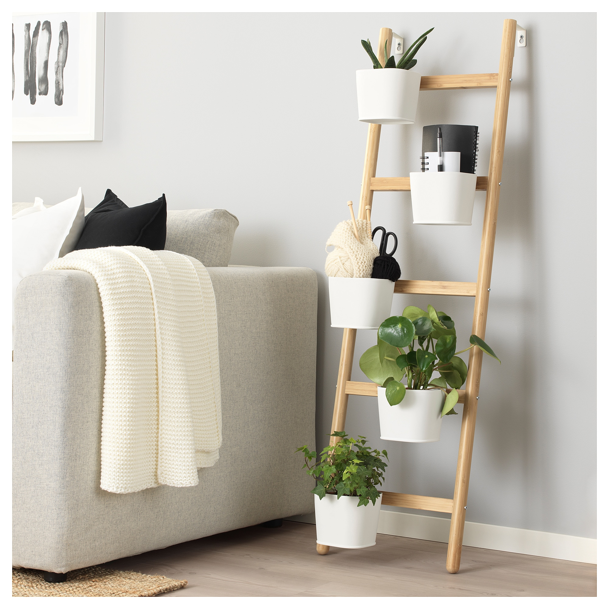 SATSUMAS Plant stand with 5 plant pots, bamboo, white is part of Living Room Plants Bamboo - A decorative ladder plant stand allows you to grow several plants together vertically   perfect if you like plants but live in a small space  A plant stand makes it possible to decorate with plants everywhere in the home