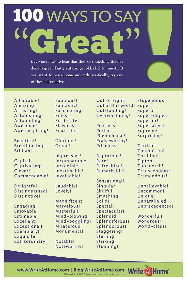 A 100 ways to say Great! English writing, Writing skills