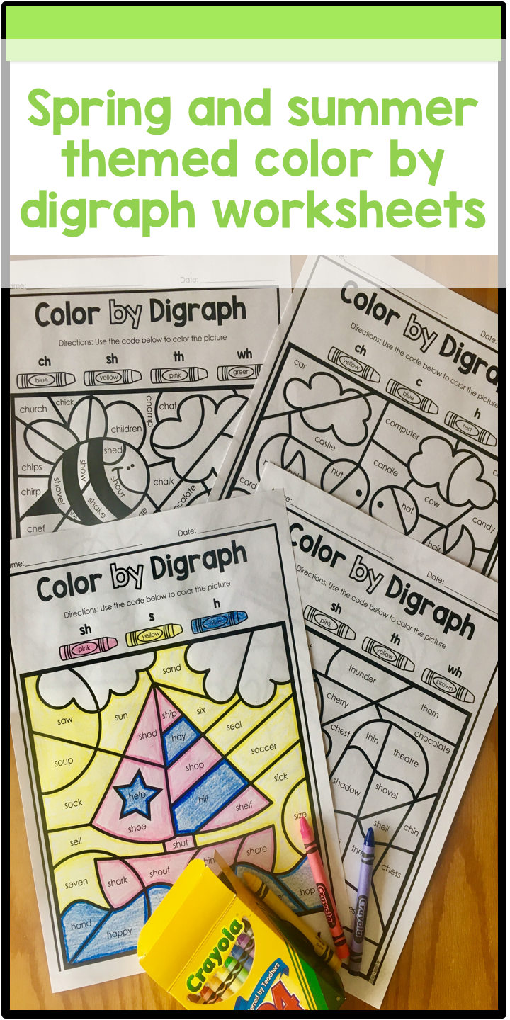 Spring and summer themed digraph (ch, sh, th, wh ) coloring ...