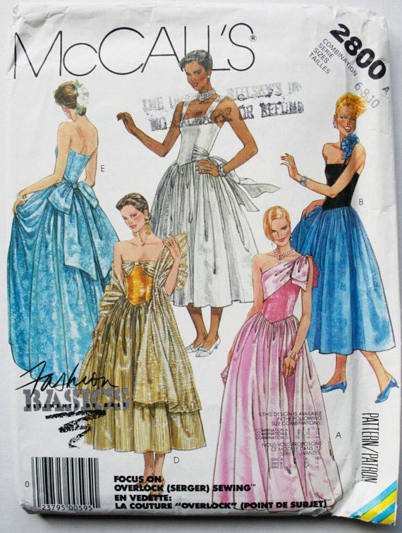 Uncut McCall\'s 2800 Sewing Pattern Women\'s Dress | Ballgown ideas ...