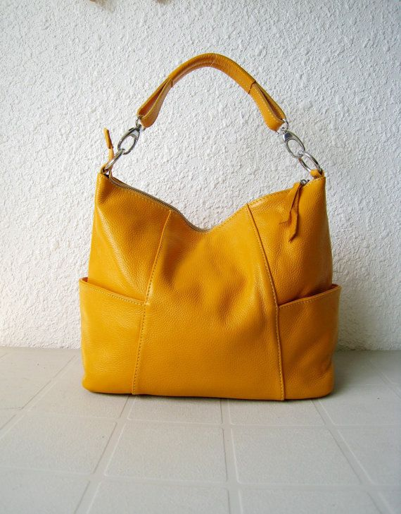 Leather handbag purse Jolie medium yellowAdeleshop by Adeleshop ...