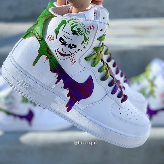 Joker custom hi top Forces, Made to order, airbrushedhand