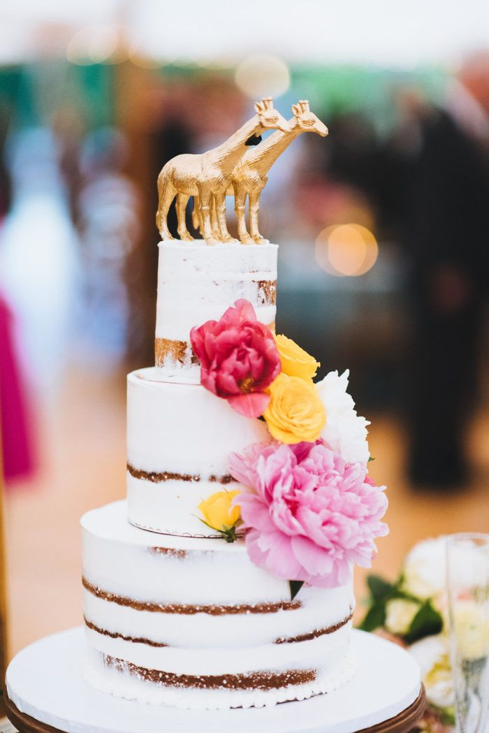 unique gold giraffe cake topper naked cake | Colorful Church Wedding Sperry Tent Reception | & unique gold giraffe cake topper naked cake | Colorful Church ...