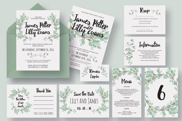 Eucalyptus Wedding Invitation Suite Wedding Invitation Packages Eucalyptus Wedding Invitation Wedding Invitation Design
