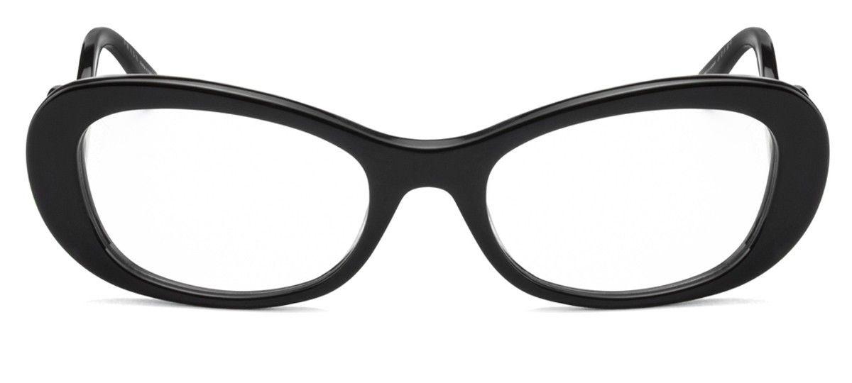 5250a7390e6fe Prada VPR09P - Preto Brilhante - 1AB1O1 Óculos de Grau na eÓtica