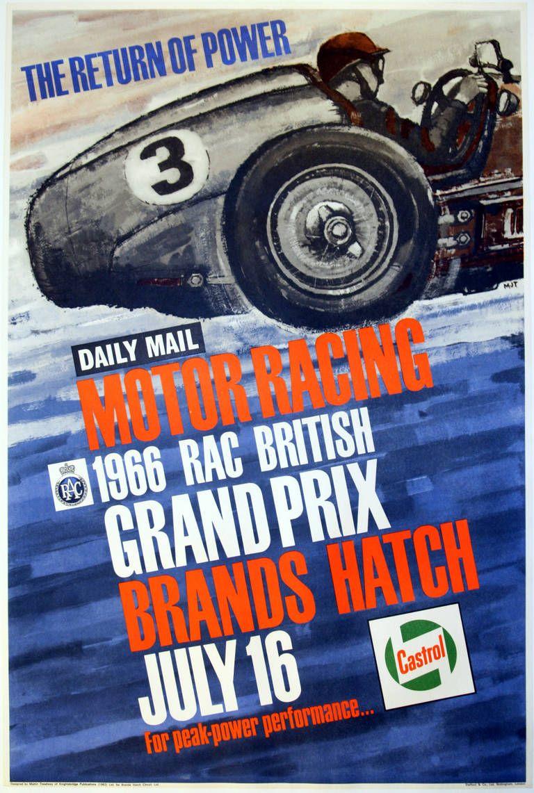 Martin Treadway Print Vintage Motor Racing Sport Poster 1966 British Grand Prix Brands Hatch 1966 Racing Posters Grand Prix Posters Auto Racing Posters