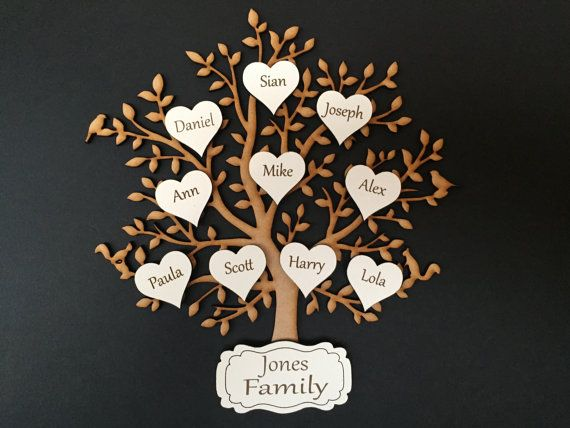 Family with Butterflies on the Branch /& 10 Hearts, Wooden MDF Laser Cut