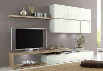 Découvrez Notre Ensemble Meuble TV Blanc Laqué Et Chêne Clair - Sofamobili meuble tv pour idees de deco de cuisine