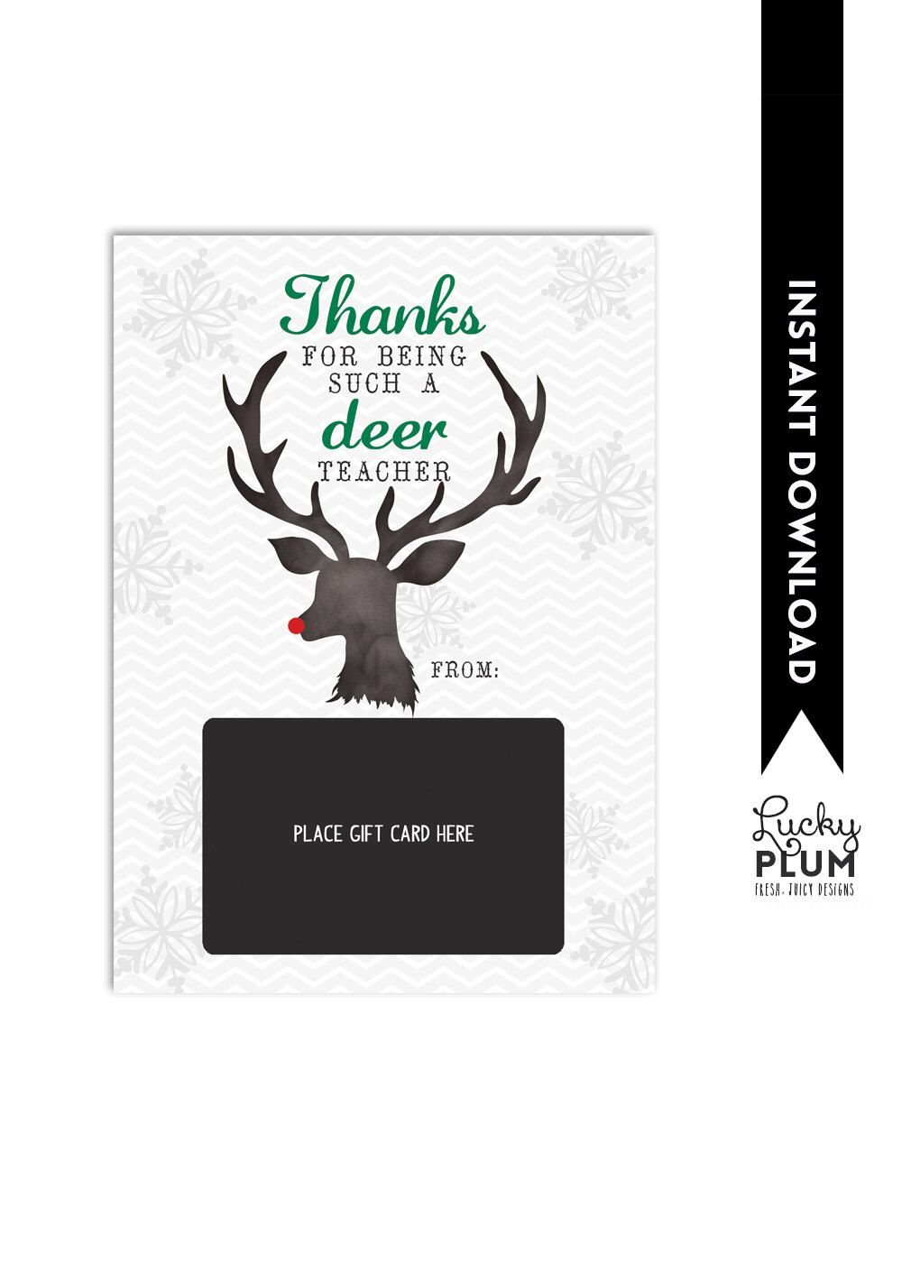 Teacher Gift Card Holder / Teacher Thank You Card / Christmas Gift ...