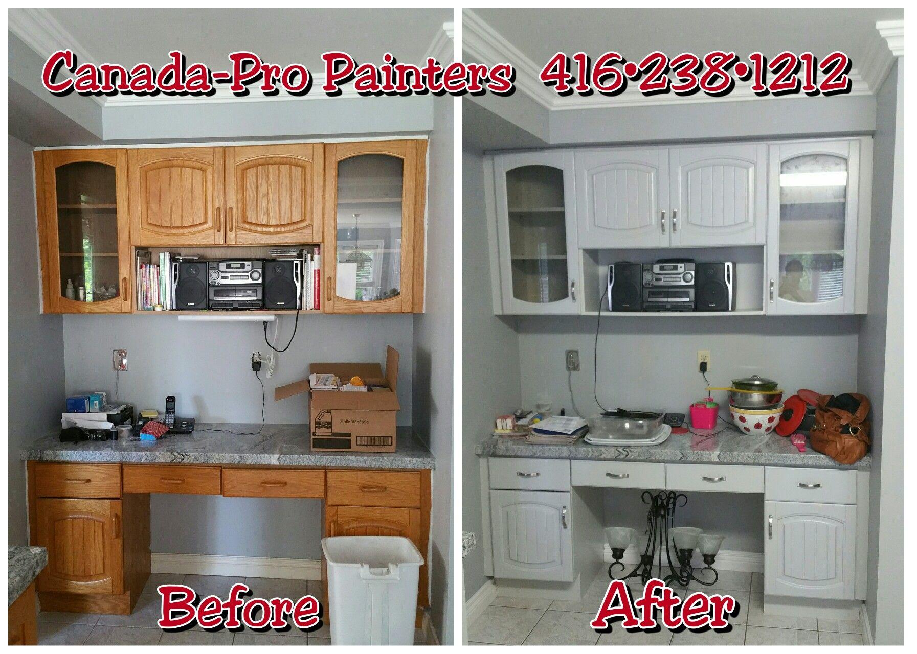 """Oak kitchen cabinets painted Benjamin Moore HC 170 """"Stonington"""