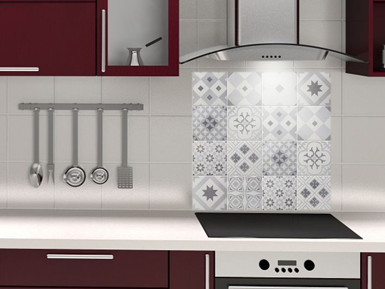 Fond De Hotte En Aluminium Imitation Carreaux De Ciment