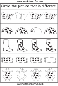 Circle the picture that is different – 4 Worksheets A WHOLE ...