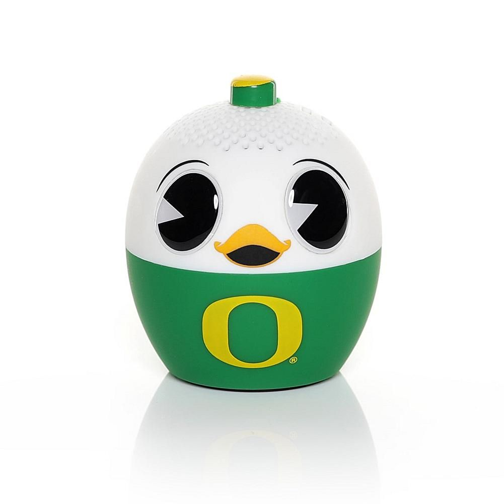 Officially Licensed NCAA Bitty Boomers Bluetooth Speaker - Oregon Bitty Boomers are where pop culture, lifestyle and art meet sound. Through the power of music, we want everyone to be given the chance to express themselves and be heard. Tiny size. Huge sound. You can sync 2 together for stereo mode or use one as a selfie remote for your phone. What You Get Oregon Bitty Boomers Bluetooth speaker Backpack clip/strap Micro USB cable