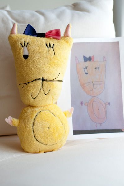 This company takes your child's drawing and makes it into a stuffed animal or pillow!!! super cool.