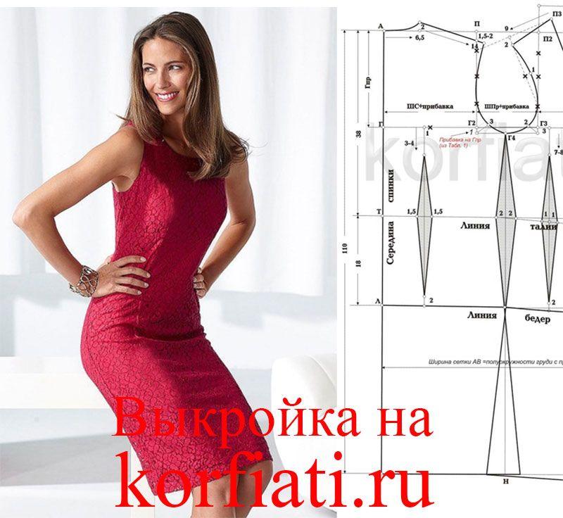 Выкройка платье по фигуре без рукавов