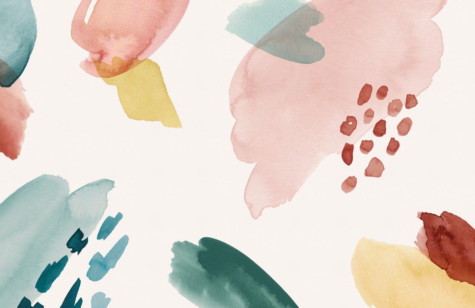 Multi-colored Watercolour Wallpaper | Brush Strokes | MuralsWallpaper