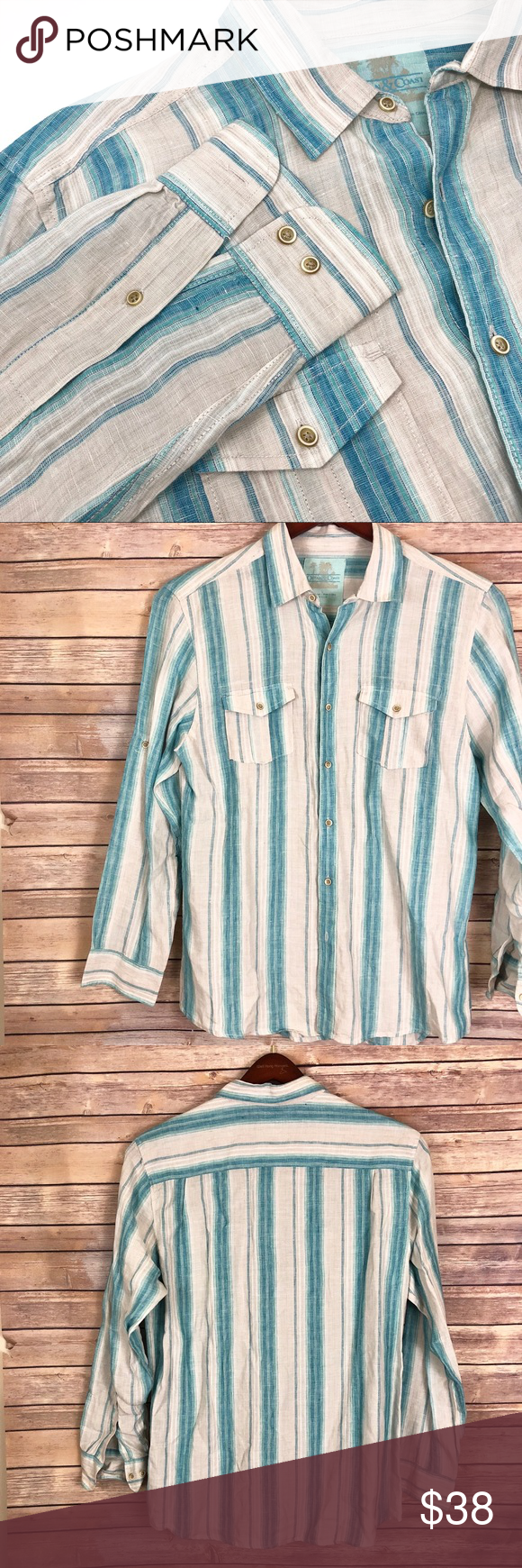 25dcfffc06b8 100% Linen Convertible Sleeve Striped Summer Shirt Ocean   Coast PreOwned  in Good Condition No Stains
