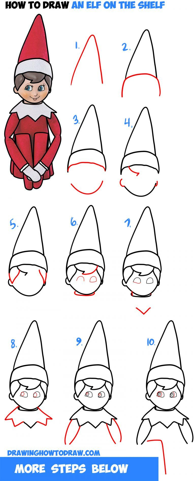 learn how to draw the elf on the shelf easy step by step drawing tutorial for kids beginners - How To Draw A Christmas Elf