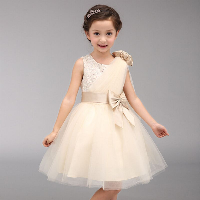 (Buy here: http://appdeal.ru/30rl ) A-line short princess dress beading lace flower girl dresses sleeveless bow baby girls pageant dresses for wedding party costume for just US $29.27