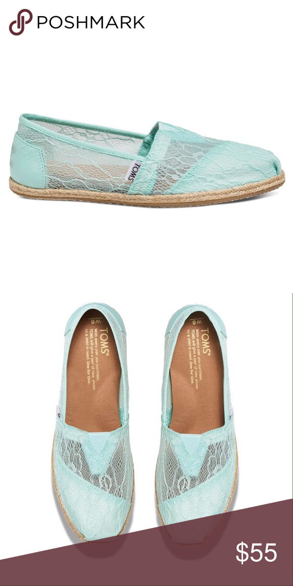 """💥1Hr SALE💥 Toms Light Blue Lace Rope Classics When it comes to your wedding day, it's all in the details.👰 These lace slip ons are ultra romantic. A great addition to perfect your look on your special day or any day. Very comfortable with cushion suede insole and latex arch support. Rope sole with traction. These are from the coveted TOMS Wedding Collection. The color is """"Light Blue"""" but has some green tint to them in my eyes. New in box. No trades. *Photos of the actual shoes will be…"""