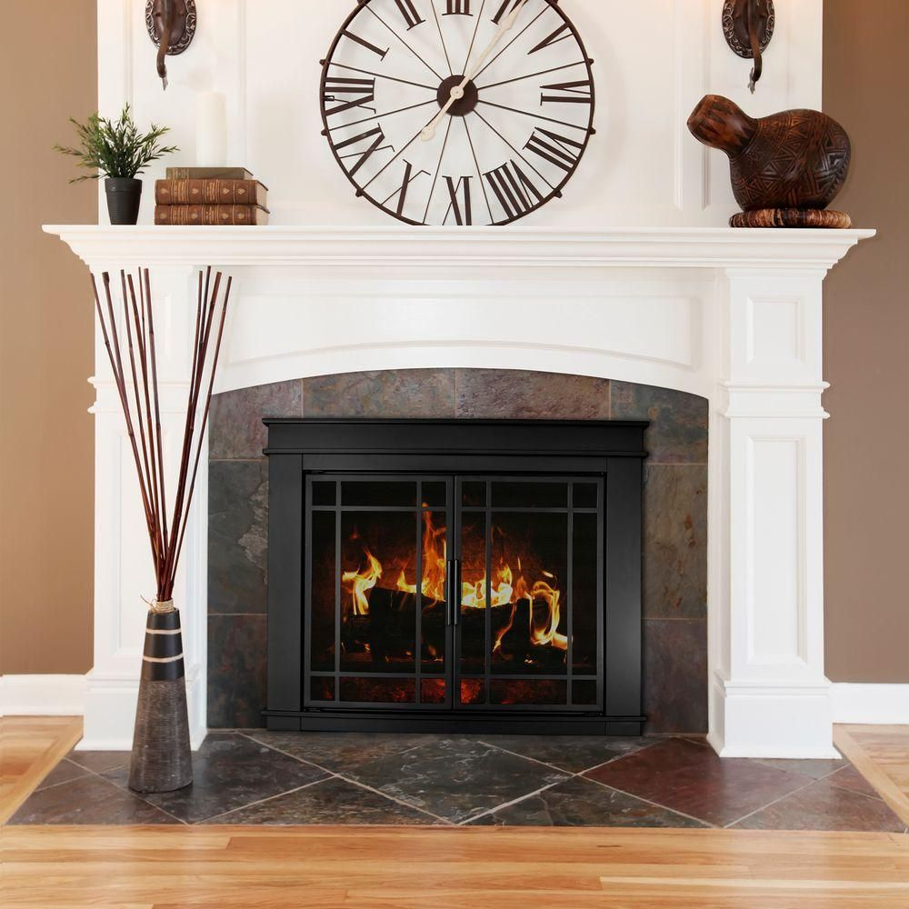Pleasant Hearth Fillmore Small Glass Fireplace Doors Fl 5800