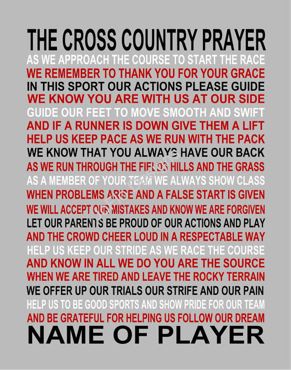 Cross Country Quotes Gorgeous The Cross Country Prayer Personalized Cross Country Print Cc . Decorating Design