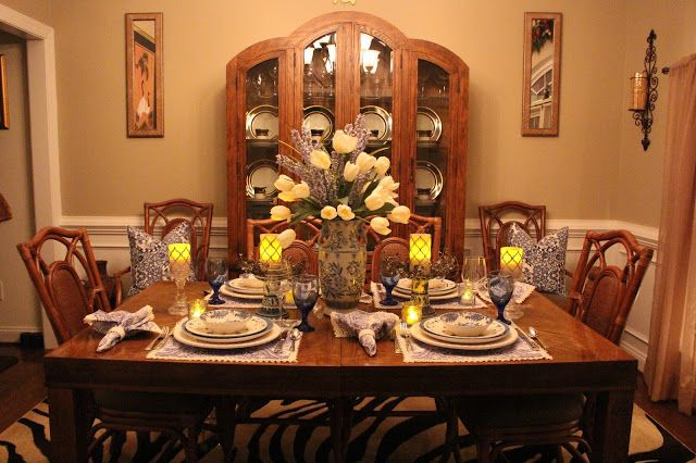Designs by Pinky Blue and White in the Dining Room for Spring