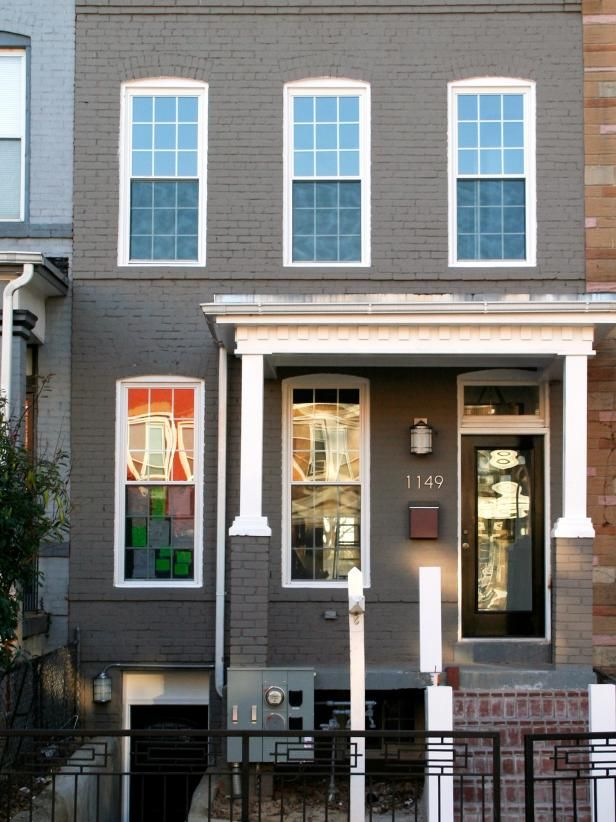 Row House Architecture Townhouse Exterior Painted Brick