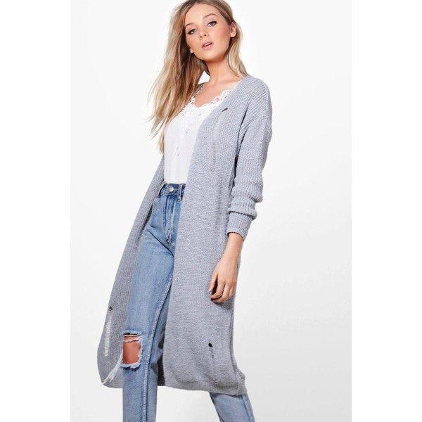 Boohoo Maria Oversized Distressed Cardigan ($6) ❤ liked on ...