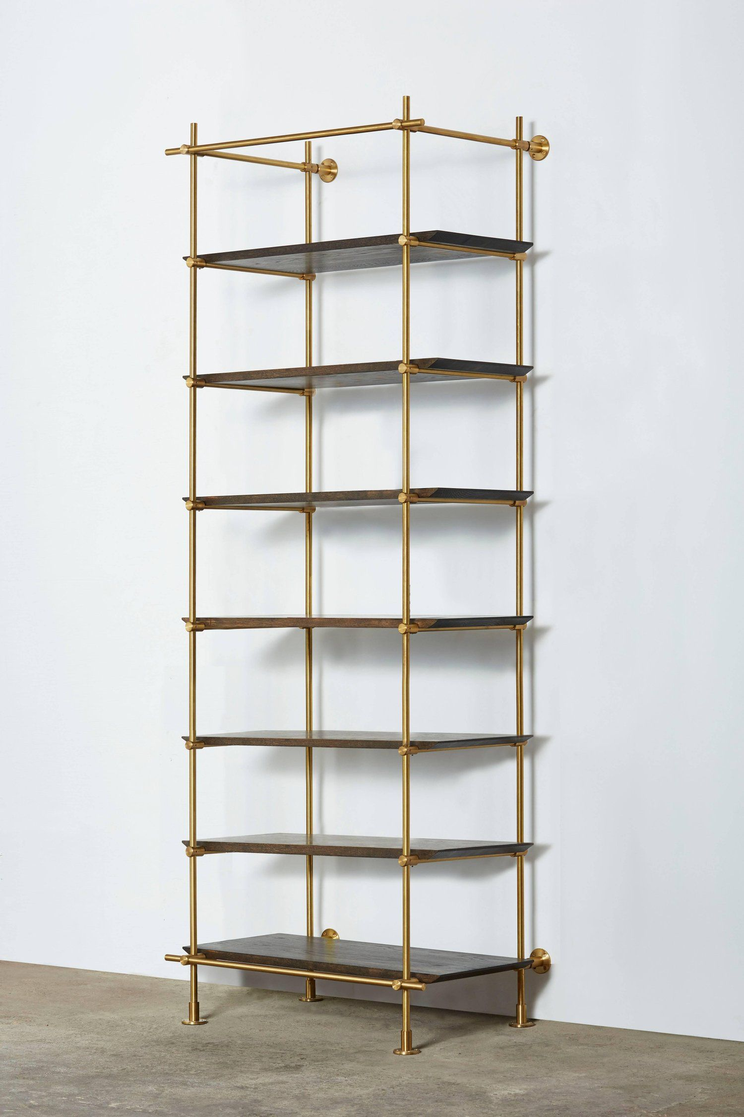 bay collector's brass shelving with oxidized oak shelves.  bay collector's brass shelving with oxidized oak shelves  oak