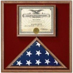 Walnut 3 X 5 Flag Memorial Case With Document Holder Flag Display Case Flag Display Medal Display Case