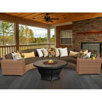 Photo of Sol 72 Outdoor Waterbury 6 Piece Sectional Seating Group with Cushions Cushion Colour: Cocoa